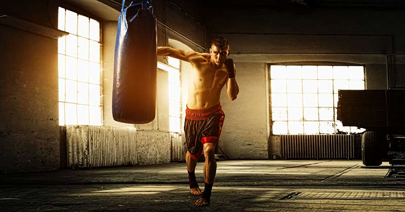 Boxer Training with Bag